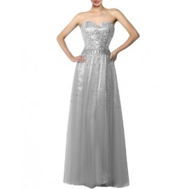 Graceful Sequin Trim Sweetheart Necklace Prom Dress in Ombre Color