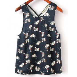 Cute Floral Printed Tank Top with Cut Out Back