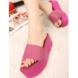 Summer Casual Platform Heel Thong Slippers in Pure Color Size:35-39