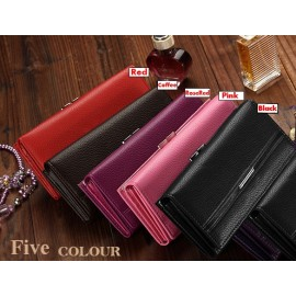 New Hot Sale Women Retro Wallet High Quality Solid Button Leather Hand Bag Long Clutch Purse