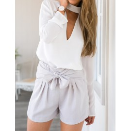 Seductive Triangle Hollow-Out Stand Collar Chiffon Blouse in White Size:S-XL