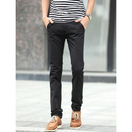 Simple Style Pure Color Pants in Slim Fit