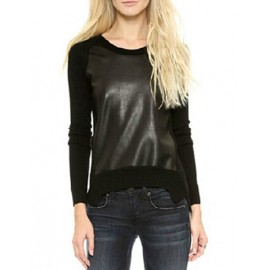 Cool Slim Fit Knit Sweater in Pu Panel Trim Size:S-2XL