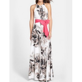 Chic Sleeveless Maxi Dress with Floral Print
