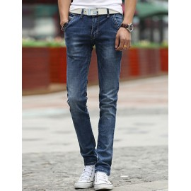 Basic Style All-Weather Zip Trim Mid-Rise Skinny Jeans