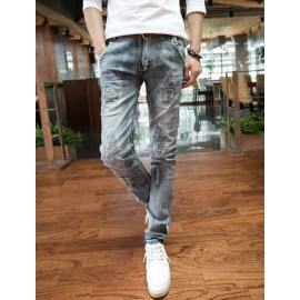 Vintage Distressed Patch Detail Casual Jeans