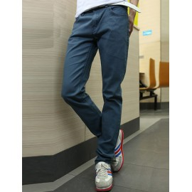 Snug Pure Color Zipped Jeans in Slim Fitting For Men