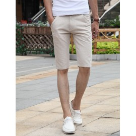 Casual Style Middle Waist Solid Color Slim Fit Shorts