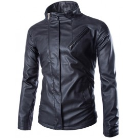 Cool Stand Collar Faux Leather Jacket with Zipper Placket
