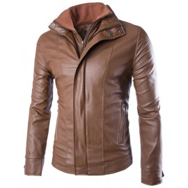 Slim Fit Zip Up Faux Leather Jacket with Slanted Zippered Pockets