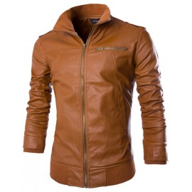 Cool Leather Look Jacket in Slim Fit