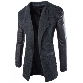 Slim Fit Lapel Jacket with Leather Look Panel Sleeve