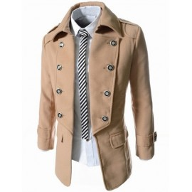 Trendy Wool Peacoat with Double Breasted