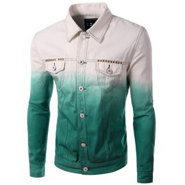 Cool Seaming Trim Ombre Color Denim Jacket with Flap Pocket