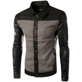 Vintage PU Panel Two Tone Jacket with Single-Breasted