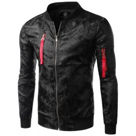 Fashionable Stand Collar Camouflage Printed Jacket with Zip Trim