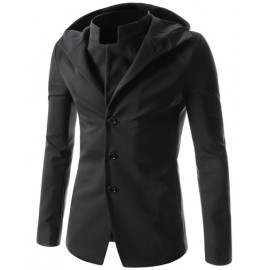 Gentlemanly Mock-Two Piece Hooded Jacket in Solid Color