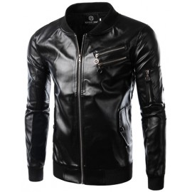 Moto Multi-Zip Stand Collar Faux Leather Jacket in Solid Color