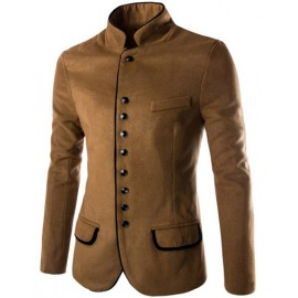 Laconic Stand Collar Single-Breasted Blazer with Split Front