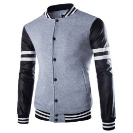 Sportive Stripe Printed Stand Collar Jacket with PU Panel