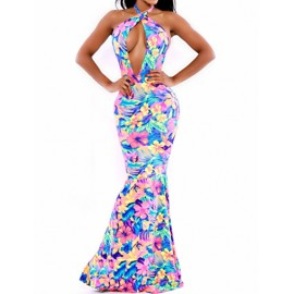 Gorgeous Backless Fishtail Trim Halter Dress with Hollow Out Trim