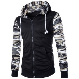 Camo Panel Zip Up Hoodie with Pouch Pockets