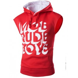 Casual Sleeveless Hoodie with Letters Printed