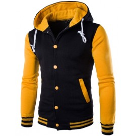 Slim Fit Button Placket Hoodie with Contrast Color Panel