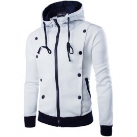Casual Contrast Buttons Detail Hoodie with Fleece Lining
