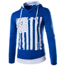 Outdoor Hooded Contrast Color Hoody in Flag Print