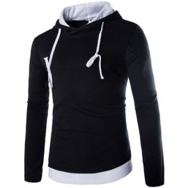 Loose Hooded Contrast Color Hoody with Long Sleeve