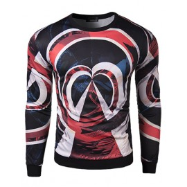Trendy Close Fitting Long Sleeve Sweatshirt with Multicultural Print