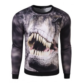 Attractive Long Sleeve Slim Fit T-Shirt with Dinosaur Print