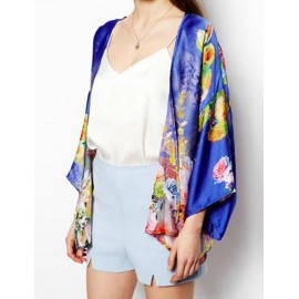 Extravagant Floral Printed Batwing Sleeve Kimono with Open Front Size:S-L