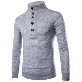 Button High Neck Sweater in Slim Fit