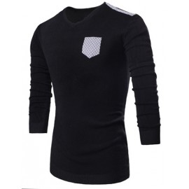 Stylish Rhombic Patch Decorated V-Neck Slim Fit Sweater