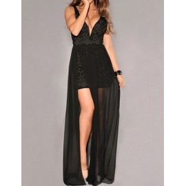 Charming Deep V-Neck Lace Panel Split Maxi Dress in Pure Color