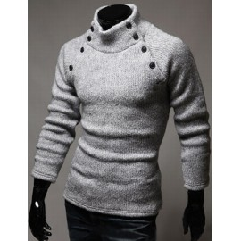 Faddish Double-Breasted Trim Pure Color Sweater