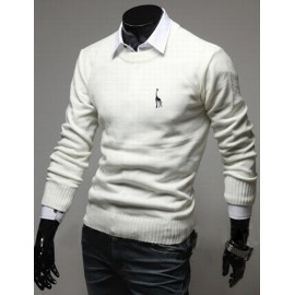 Casual Embroidery Deer Trim Round Neck Knitwear