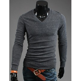 Cosy V-Neckline Slim-Fit Knitwear with Long Sleeve For Men