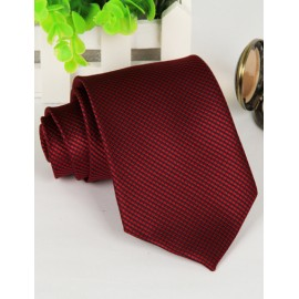 Red Hot Mini Checked Pattern Neck Tie with Arrow Shape