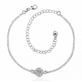 A033-AFree Shipping New Design Large Stock Delicate Handmade Cheap Silver Plated Anklet Bulk Sale