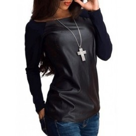 Unique PU Panel Long Sleeve Tee in Boat Neck