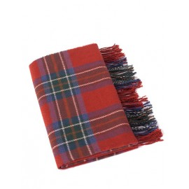 Comfy Checked Printed Color Panel Scarf with Tassel Trim