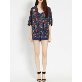 Fabulous Floral Printed Short Sleeve Kimono with Open Front Size:S-L