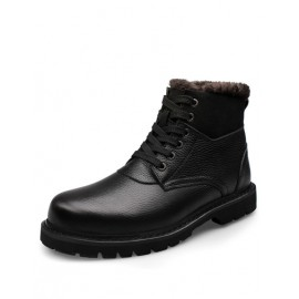 England Fluffy Trim Lace-Up Martin Boots in Solid Color