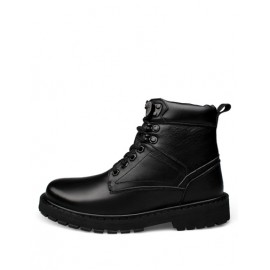 Cool Rivet Detail Lace-Up Martin Boots in Black
