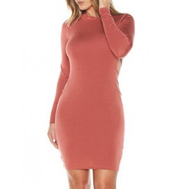 Sexy Open Back Long Sleeve Club Dress with Crew Neck