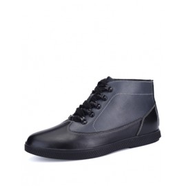 Laconic Contrast Color High-Top Casual Shoes with Almond Toe