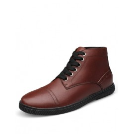 Business Lace-Up Almond Toe Casual Shoes in Pure Color